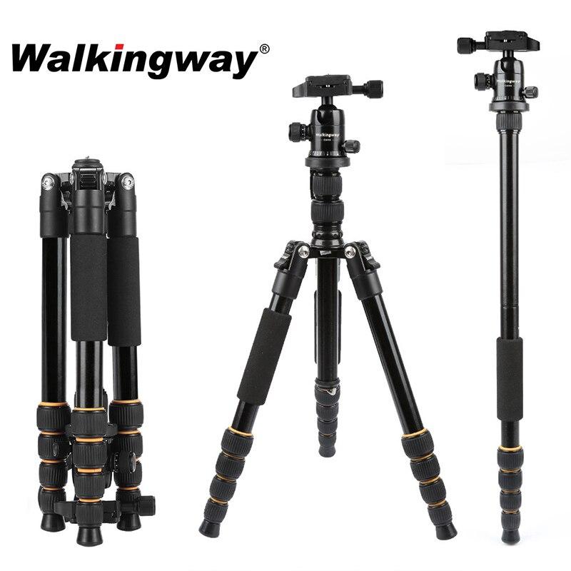 Walkingway Aluminum Protable Q666 Professional Travel Camera Tripod Monopod Ball Head&Phone Holder for DSLR Smartphone Video